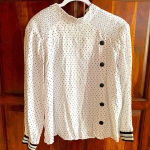 Zara White & Black Polka Dot Button Top
